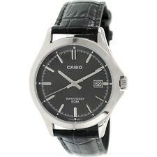 Casio MTP1380L-1A Mens Genuine Leather Dress Watch 50M Black Dial NEW Date
