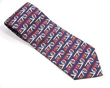 ESSEX ROW  BLUE Neck Tie Polyester RED WHITE TAN Geometric Vintage Necktie