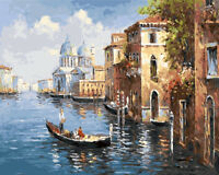 Venice Water City Boating Hand Painted Design Needlepoint Canvas #425
