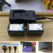 2 Battery+Charger FOR Panasonic CGR-D54 AG-DVX100B HVX200 DVX100 HPX170 new