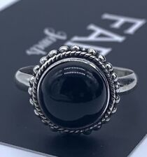 Round 925 Sterling Silver Ladies Onyx Stone Ring Black Gemstone Jewellery Boxed
