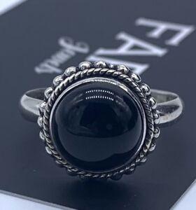 Round 925 Sterling Silver Ladies Onyx Stone Ring Black Gemstone Jewellery Boxed