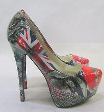"NEW Bumper British Kiss 6.5"" High Stiletto Heel 2"" Platform Sexy Shoes Size 7.5"