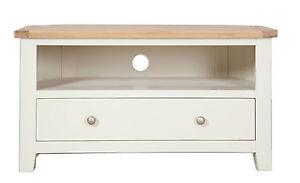 Hobart Ivory/Natural Oak Top Corner TV Cabinet Fully Assembled