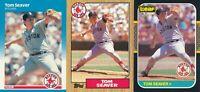 Tom Seaver Lot of three different Boston Red Sox baseball cards  HOF