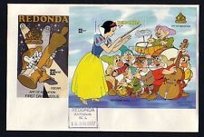 Redonda-Antigua, 1987 issue. Disney`s Snow White s/sheet on a First day cover.