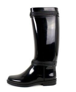 GIVENCHY Black Rubber Faux Zipper Double Strap Knee Rain Boots 39