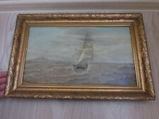 Antique  Oil Painting ON CANVAS Naval storm sailing boat yacht 50x33cm