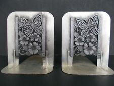 Vintage Pair 1980 Metzke Pewter Bookends Butterfly Wild Rose Flowers, Usa made