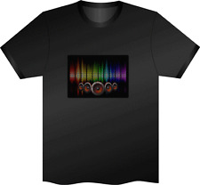 SOUND ACTIVATED SPEAKERS FLASHING LIGHT LED T SHIRT XL el CLUB PARTY HEN BLACK