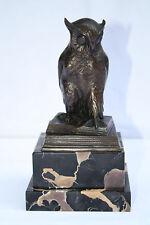 "MAGNIFICENT ART DECO GERMAN BRONZE OWL ON MARBLE BASE SIGNED ""HERTZ"""
