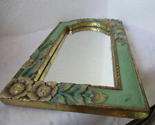 "19"" Antique  carved WOODEN mirror w/ flowers ART carving OLD green & GOLD PAINT"