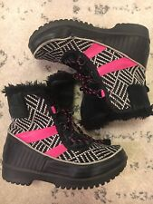 Sorel Waterproof Snowboots Womens Size 5 EUR 37 Black White Pink Euc B7