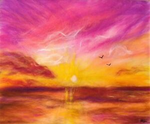 'Pink Sunset' Wool Watercolour Fibre Painting Felting Picture Original Artwork
