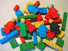 26 Edible LEGO Men & Blocks CUPCAKE Toppers Kids Birthday Party Cake Decorations