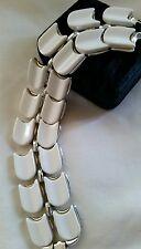 Vintage Lisner Signed Wide Chunky Thermoset Silver Tone Bracelet