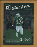Matt Forte 2016 Donruss Silver Press Proof Card #208 serial #'d /100 Jets