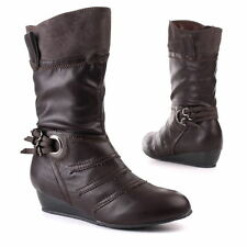 Unbranded Women's Synthetic Leather Wedge Mid-Calf Boots
