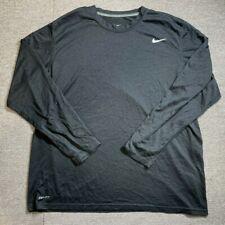 Nike Mens T Shirt Adult 2X Large Long Sleeve Grey Nike tick Size XXL Dri Fit Tee