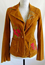 Johnny Was JWLA Embroidered Roses Floral Print Corduroy Jacket XS Blazer