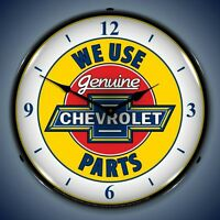 New We Use Genuine Chevrolet Parts advertising LIGHTED clock 🇺🇸 made Fast Ship
