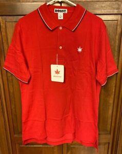 BOAST USA Men L Peruvian Cotton Red Tipped Collar Pique Polo Shirt NWT New