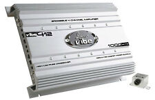 Lanzar VIBE412 1000W Max 4-Channel Class AB Car Amplifier/Amp w/ Bass Remote