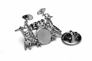 Polished Drum Kit silver-plated pin badge gift musician conductor teacher studen