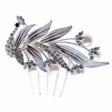 Bridal Wedding Hair Accessories White Diamante Shiny Peacock  Corsage Comb HA159