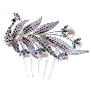 Accessoires Blanc Cheveux Mariage Strass Brillant Paon Corsage Peigne HA159