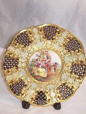 Coalport Antique rare porcelain center piece h.p. jeweled plate