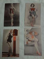 Movie Stars -Lot of four original 1950s  arcade cards printend in Usa
