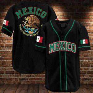 MEXICO Black Baseball Line Customize Name Baseball Jersey Shirt S-3XL