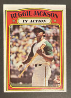 1972 TOPPS #436 REGGIE JACKSON IN ACTION IA HOF Oakland A's