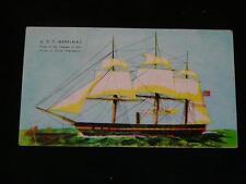 "Antique POSTCARDS - TALL SHIP U.S.S. Merrimac, ""Pride of Dixie"" c1957 Hotel Adv."