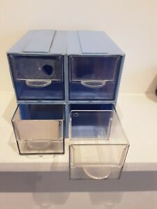 4 Vintage photo slide boxes / component drawers, fit/stack, acrylic/plastic