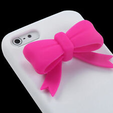 For iPhone 5 5S SE Rubber SILICONE Soft Gel Skin Case Phone Cover White Pink Bow