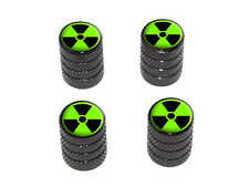 Radioactive on Green - Tire Rim Wheel Valve Stem Caps - Black