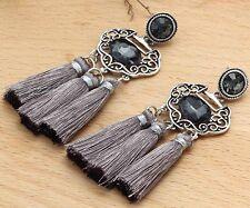 Long Ear Stud Hoop earrings 235 Woman's Black Crystal Rhinestone Silver Plated