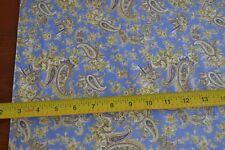 By 1/2 Yd, Tan on Blue Quilting Cotton, Clothworks/Paisley Denim./Y0900-30, B890