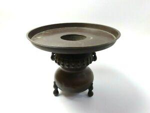 Japanese antique vintage brass Ikebana flower arrangement Usubata vase chacha