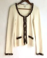 Cache Cardigan Sweater Sz L Pompom Fringe Cream Ivory Zip Front Large