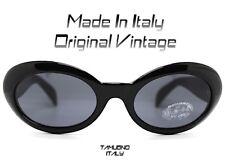 OCCHIALI DA SOLE DONNA OVALE NERO sunglasses VINTAGE MADE IN ITALY style Cobain