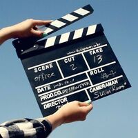 Movie Film TV Slate Clapper Board Dry Erase Clapboard Cut Action Scene Decor---