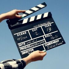 Director Video Wood Clapboard Dry Erase TV Film Movie Clapper Board Slate