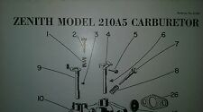 Zenith Carburetor 210A5 Parts List (Out of Continental Engines Master Manual) 2p