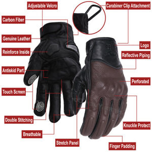 Motorcycle Gloves Summer Glove Full Finger Motorbike Screen Touch Brown Size L