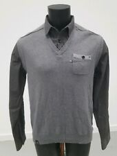 Mens Next 2 In1 Shirt Jumper Grey Size Uk Large long Sleeve Collared