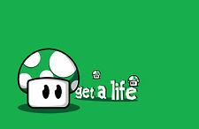 A4 Poster – Get a Life Green Mushroom (1Up Mario Luigi Wario Picture Print Art)