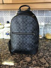 Coach Mens Leather Logo Backpack In Black